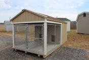8x14 Dog Kennel with Buckskin walls, White trim, and Shakewood shingles