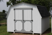10X12 Madison Mini Barn with White walls, Light Grey trim, and Charcoal shingles