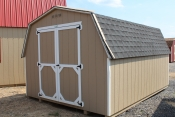 10x14 Madison Mini Barn with Buckskin walls, White trim, and Charcoal shingles