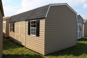 12x20 Vinyl Dutch Barn with Clay walls, White trim, and Charcoal shingles