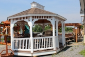 Pine Creek 12x16 Gazebo with White vinyl, and Barkwood shingles