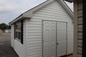 10x14 Vinyl Cape Cod with Sand walls, Light Grey trim, and Charcoal shingles