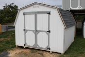 10x10 Madison Mini Barn with White walls, Light Grey trim, Oyster Grey shingles
