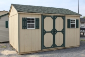 10x14 HD Peak Shed with Beige walls, Avocado trim, and Hunter Green shingles