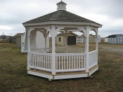 10'x10' Octagon Vinyl Gazebo with 5/4 composite deck, Queen Anne braces, benches