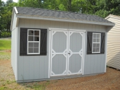 10X14 Cottage Storage Shed with shelving inside