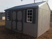 Pine Creek 10x14 Peak Side Clay & Avacado with Metal Roof