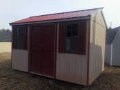 Pine Creek 8x12 Peak Side Entry Buckskin & Red with Red Metal Roof