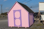 8x10 Club House Shed with Pink walls, Purple trim, and Charcoal shingles