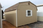 12x20 Dutch 6' High wall Barn, Buckskin walls, White trim, and Barkwood Shingles