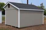 10X14 Cottage Shed with Clay walls, White/Burgandy trim, and Charcoal shingles