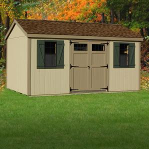 Peak or A Frame style storage sheds from Pine Creek Structures