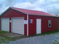 Pine Creek 24x26 Steel Garage with red walls and roof