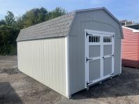 14x24 Peak Garage with Sand walls, White trim, Green shutters, and Shakewood shingles