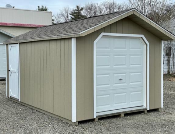 10 x 16 Peak Style Front Entry Shed w/ Garage Door