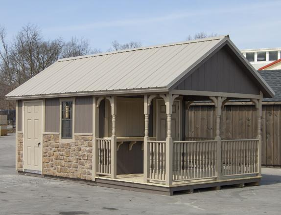 10x20 Cape Cod Cabana with porch, concession window, and stonework