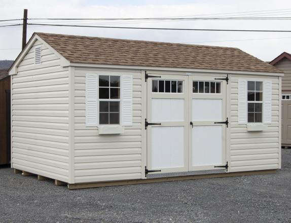 10x16 Peak Style Storage Shed with Vinyl Siding at Pine Creek Structures of Spring Glen