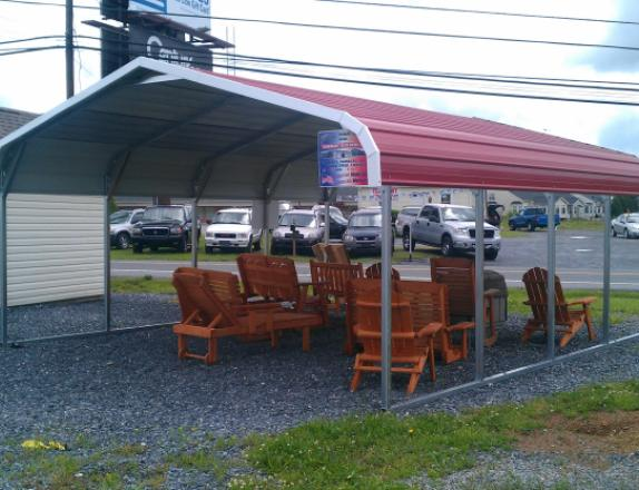 Pine Creek 18x21 Bent Bow Carport with red metal roof