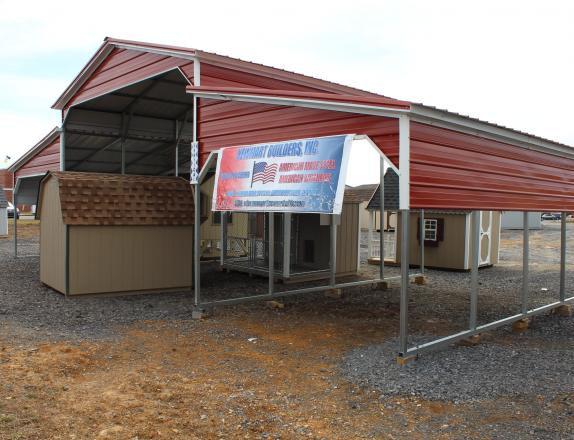 46x21 Barn Style Carport in Red with White trim