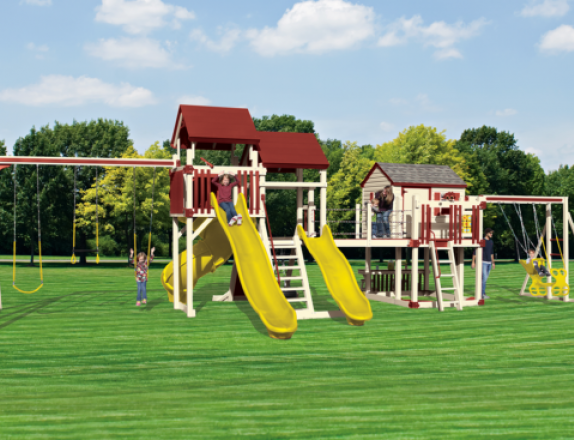 40'x23' Mountain Climber Series SK-45 Retreat Playset from Swing Kingdom