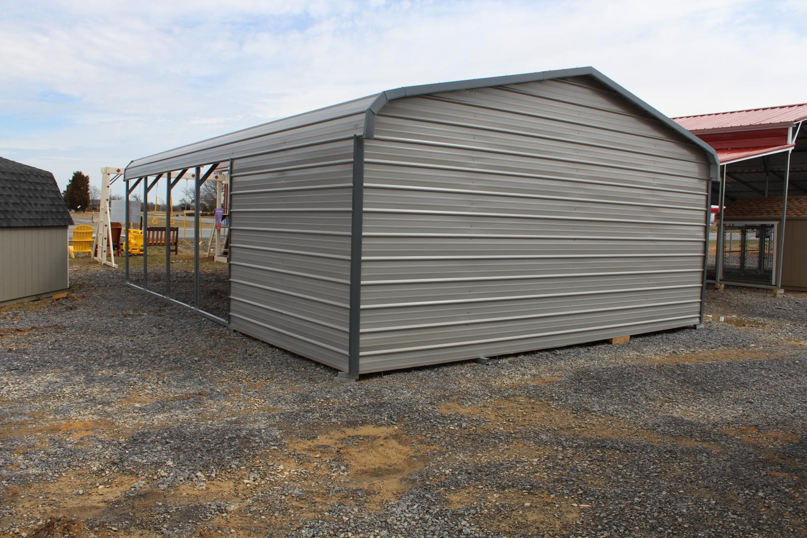 Pine creek 20x31 bent bow combo side car port shed sheds for Bow roof shed