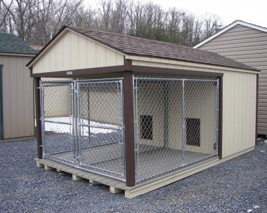 Moore Country Pine Creek Beige 8x14 Dog Kennel with Dark Brown Trim