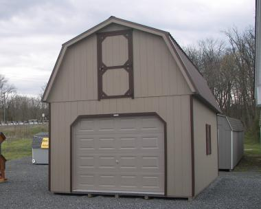 Moore Country Pine Creek 14x24 Clay Two Story Gambrel Barn Garage with Dark Brown Trim