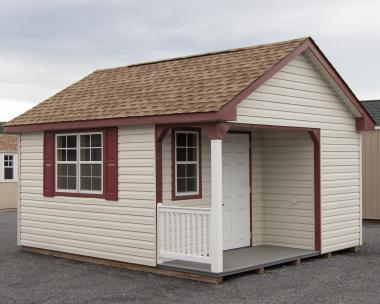 12x16 Vinyl Cape Cod Style Shed with a Corner Porch