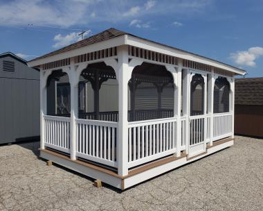 10x16 Vinyl Rectangle Gazebo with Screening