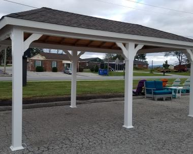 12x20 Hip Pavilion with White Vinyl Posts