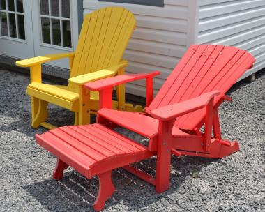 red and yellow Lounge Adirondack Chairs with Pullout Ottomans