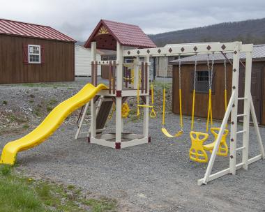 Cubby's Fort Vinyl Play Set Available at Pine Creek Structures of Spring Glen