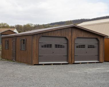 24x28 Two-Car Modular Garage with Coffee Brown Siding and Overhead Doors with windows