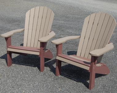 Poly Adirondack Chairs in Weathered Wood and Cherrywood colors