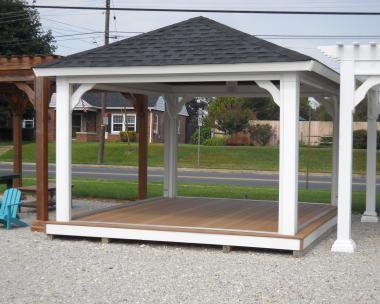 12'x14' Vinyl Hip Pavilion w/Floor and Screen Package
