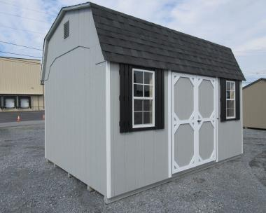 10x16 Madison Dutch Style Shed with Yoder Blue walls, White trim, and Fox Hollow Gray shingles