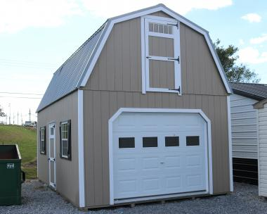 Pine Creek 14x24 Two Story Barn with PC Clay walls, White trim and shutters, and Light Grey metal roof