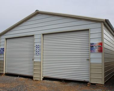 24x26 Metal Garage with White roof, White/Stone 2 tone walls, Stone trim