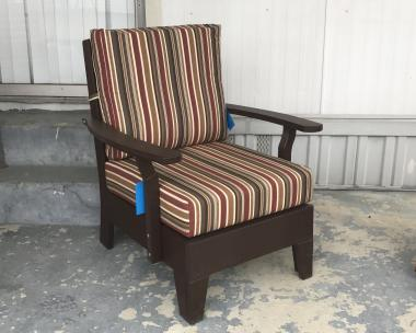 Deep Cushion Chair in Milwaukee Brown and Brannon Redwood