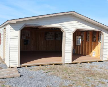 24x24 Double Car Garage with Sand siding, Clay trim, and Weathered Wood shingles