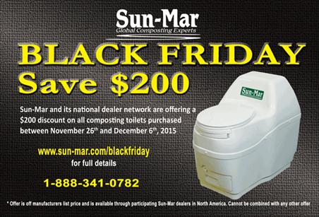 Black Friday Sun-Mar composting toilets coupon to save $200