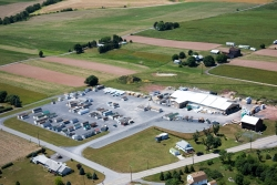 aerial view of plant and sales lot